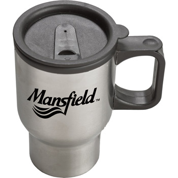 (16 oz.) Stainless Steel Sculptured Travel Mug