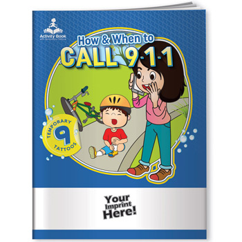 Activity Book w/ Temporary Tattoos - How & When to Call 9-1-1