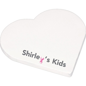 "4"" x 4"" Die Cut Adhesive Notepad - Heart"