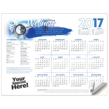Adhesive Wall Calendar - 2017 Wellness is a Virtue (Hospital)