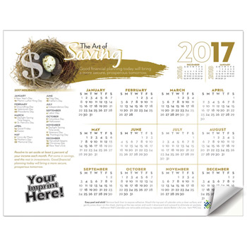 Adhesive Wall Calendar - 2017 The Art of Saving (Financial)
