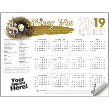 Adhesive Wall Calendar - 2019 Be Money Wise (Financial)