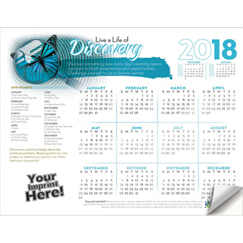 Adhesive Wall Calendar - 2018 Live a Life of Discovery (Education)