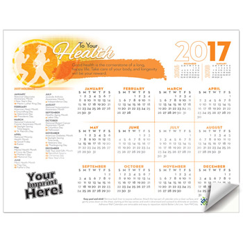 Adhesive Wall Calendar - 2017 To Your Health (Wellness)