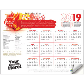 Adhesive Wall Calendar - 2019 Make Your Home Fire Safe (Fire Safety)