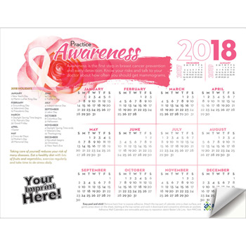 Adhesive Wall Calendar - 2018 Practice Awareness (Breast Cancer Awareness)