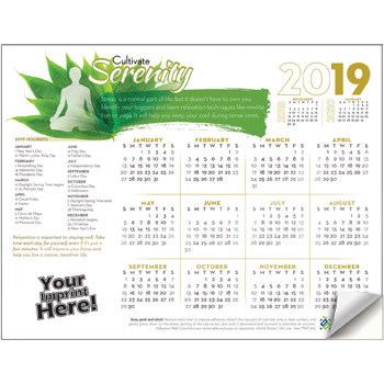 Adhesive Wall Calendar - 2019 Cultivate Serenity (Stress Awareness)