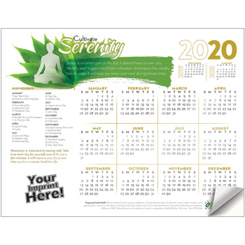 Adhesive Wall Calendar - 2020 Cultivate Serenity (Stress Awareness)